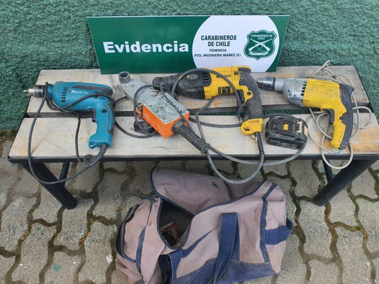 Detienen a sujeto que robó herramientas eléctricas en una casa de Cerro Castillo